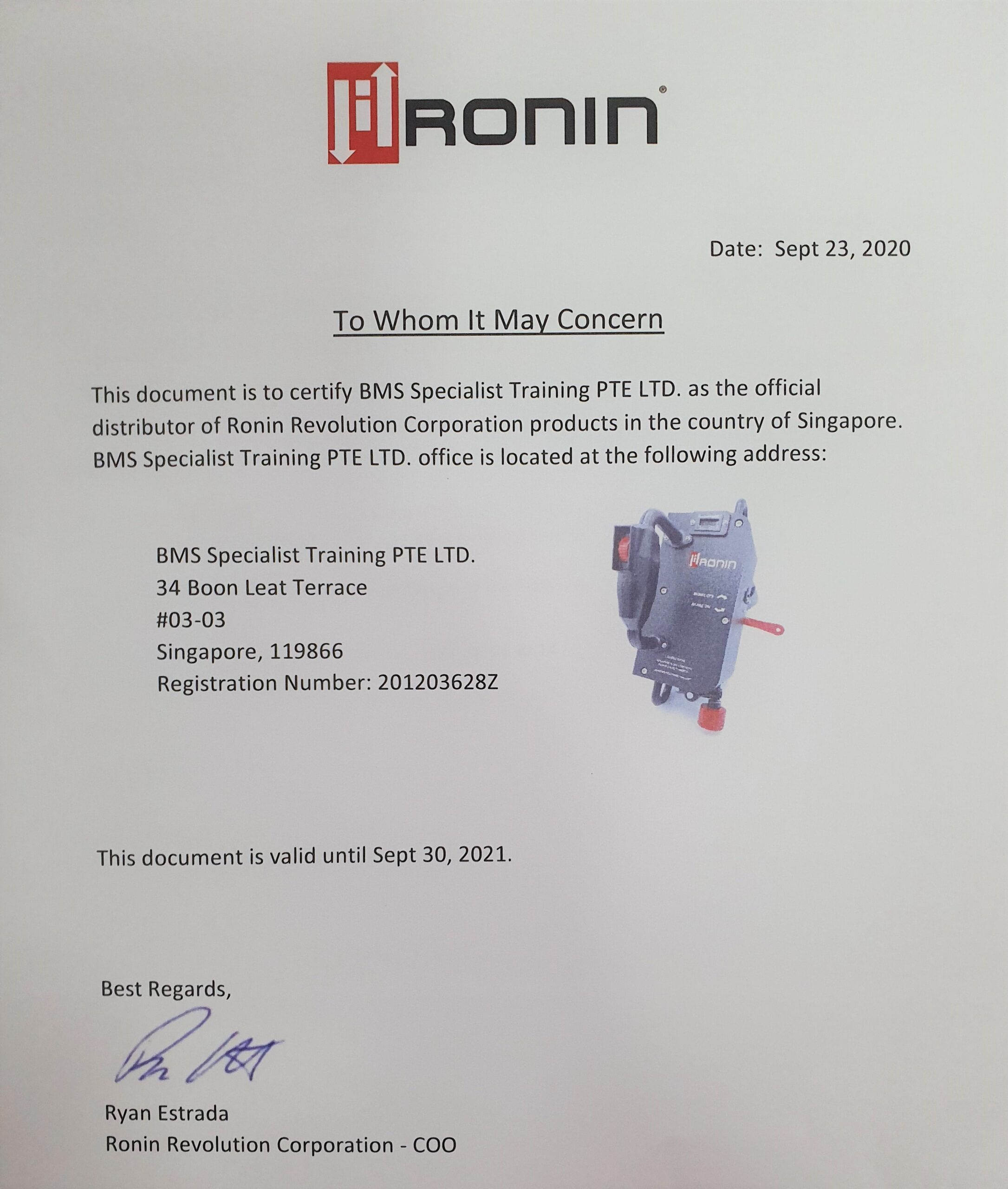 Ronin Distributor Agreement Cert
